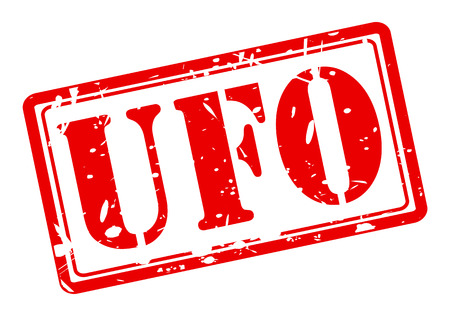 ufo conspiracy theory: UFO red stamp text on white