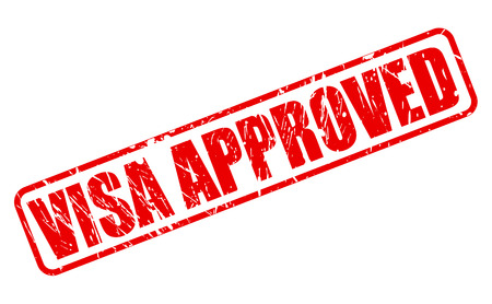 visa approved: Visa approved red stamp text on white