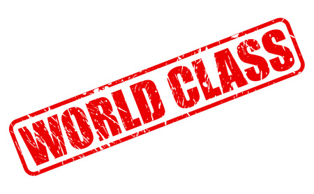 world class: World class red stamp text on white Stock Photo