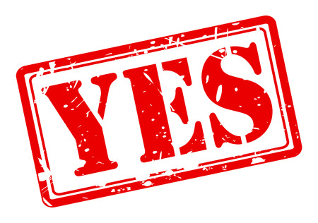 certainty: Yes red stamp text on white Stock Photo