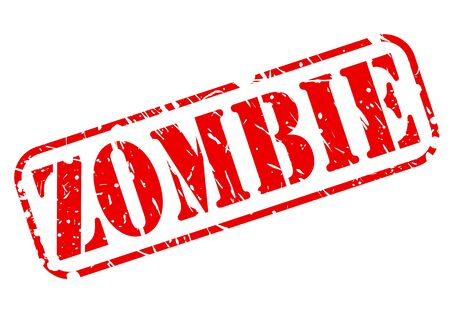 exhaustion: Zombie red stamp text on white