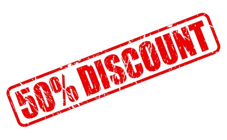 50 percent discount red stamp text on white