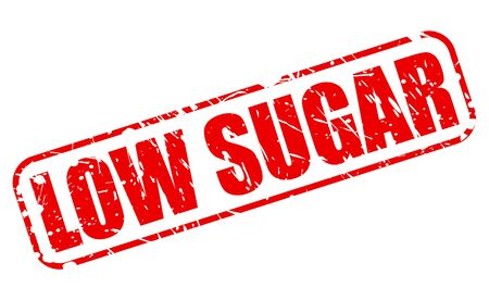 low cal: Low sugar red stamp text on white