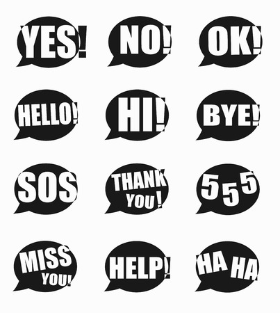 acronyms: Most common used acronyms and abbreviations on word speech bubbles icon on white background