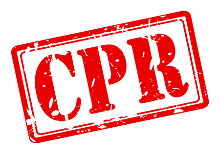 CPR red stamp text on white photo