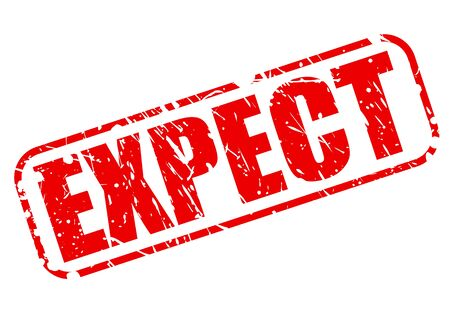 expect: Expect red stamp text on white Stock Photo
