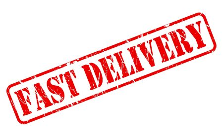 speedy: Fast delivery red stamp text on white Stock Photo