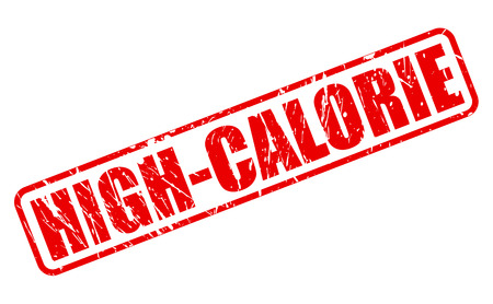 High calorie red stamp text on white Stock Photo
