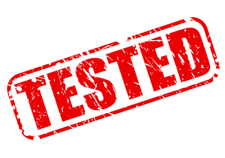 ratified: Tested red stamp text on white Stock Photo