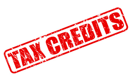 tax bracket: Tax credits red stamp text on white