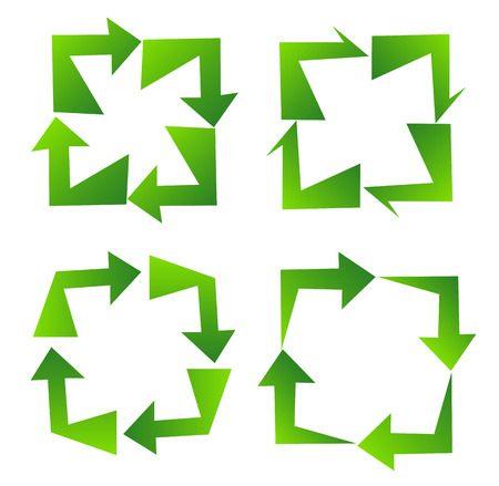 quadrilateral: Set of green recycle sign design on quadrilateral concept Stock Photo
