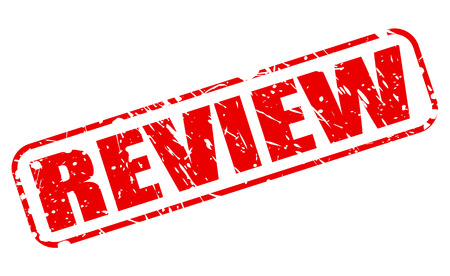 Review red stamp text on white Imagens