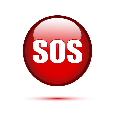 sos: SOS text on red glossy button