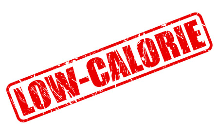 no cholesterol: Low calorie red stamp text on white