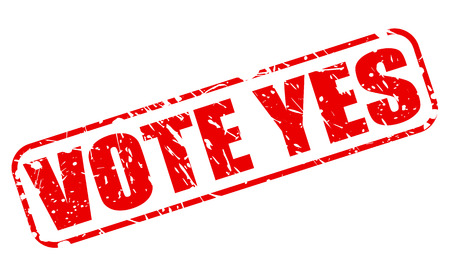 yea: Vote yes red stamp text on white Stock Photo