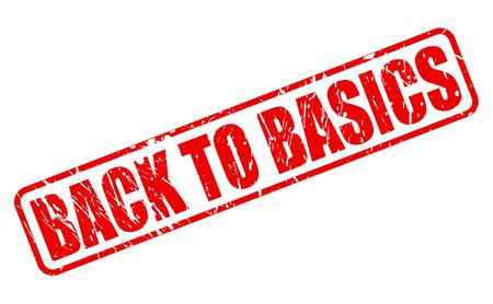 basics: Back to basics red stamp text on white