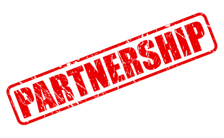 teaming up: Partnership red stamp text on white Stock Photo