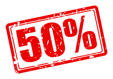 50 percent red stamp text on white Stock Photo