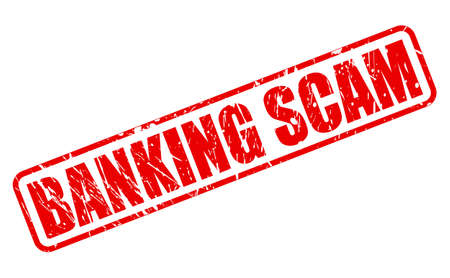 scam: BANKING SCAM red stamp text on white Stock Photo