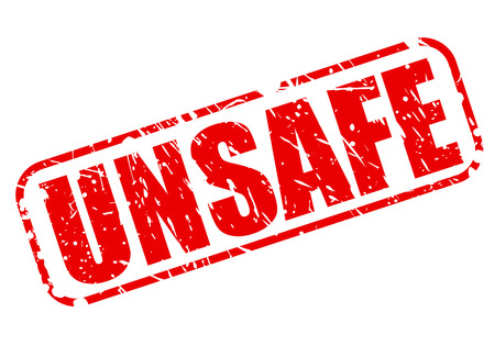 avail: Unsafe red stamp text on white