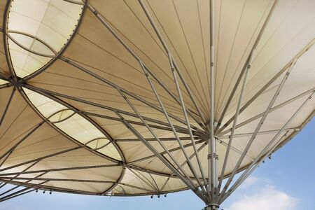tensile: Fabric tensile roof structure with skylight background Stock Photo