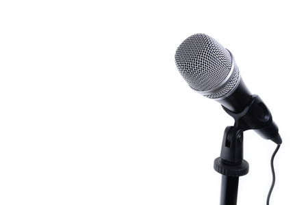 Microphone isolated on white with copy space background Foto de archivo