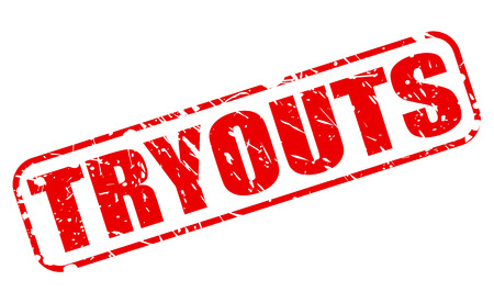 episode: Tryouts red stamp text on white Stock Photo