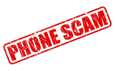 be aware: Phone scam red stamp text on white
