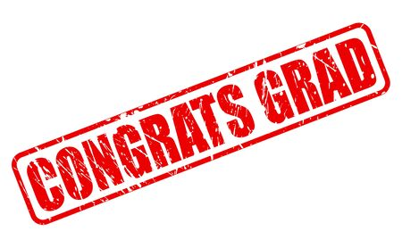 grad: Congrats Grad red stamp text on white Stock Photo