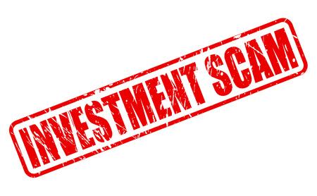 fraudster: Truffa investimento testo timbro rosso su bianco