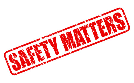 matters: Safety matters red stamp text on white