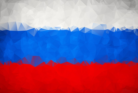 russia flag: Abstract Russia flag polygon background Stock Photo