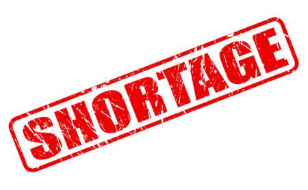 shortfall: Shortage red stamp text on white