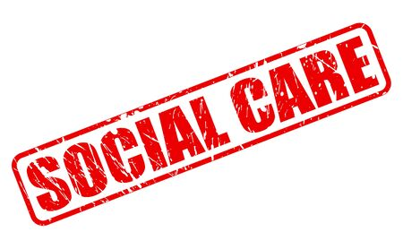 social care: Social care red stamp text on white