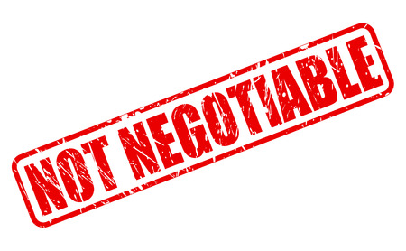 NOT NEGOTIABLE red stamp text on white Stock Photo