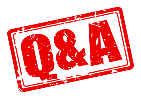q: Q and A red stamp text on white