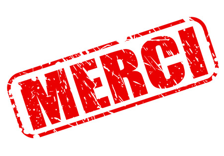 merci: Merci red stamp text on white Stock Photo