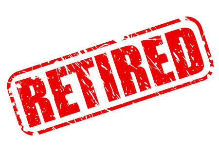 resign: Retired red stamp text on white