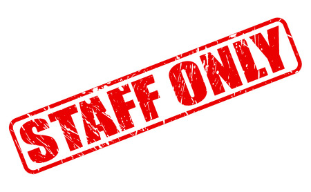 staff only: STAFF ONLY red stamp text on white
