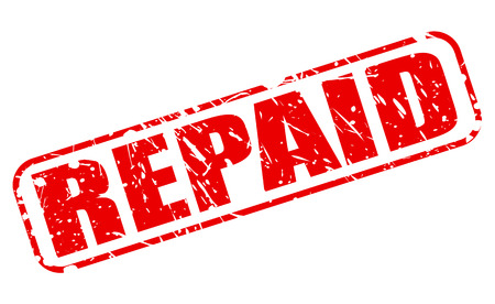 compensated: Repaid red stamp text on white