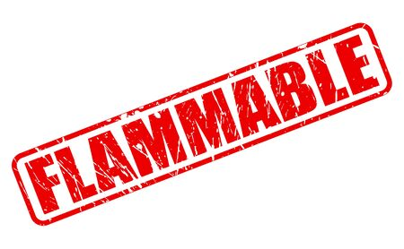 flammable: Flammable red stamp text on white