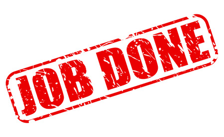 fulfilled: Job done red stamp text on white Stock Photo
