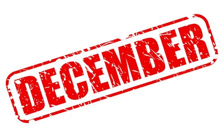 december: December red stamp text on white Stock Photo