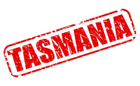 Tasmania red stamp text on white