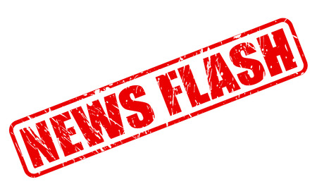 ニュース フラッシュの赤いスタンプの文字列白