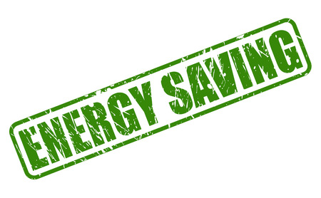 energy consumption: Energy saving green stamp text on white
