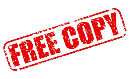 complimentary: Free copy red stamp text on white