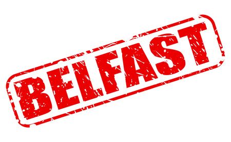 irish cities: BELFAST red stamp text on white