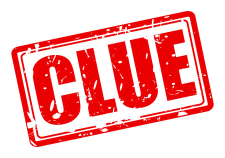 clue: Clue red stamp text on white