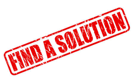 find a solution: Find a solution red stamp text on white Stock Photo